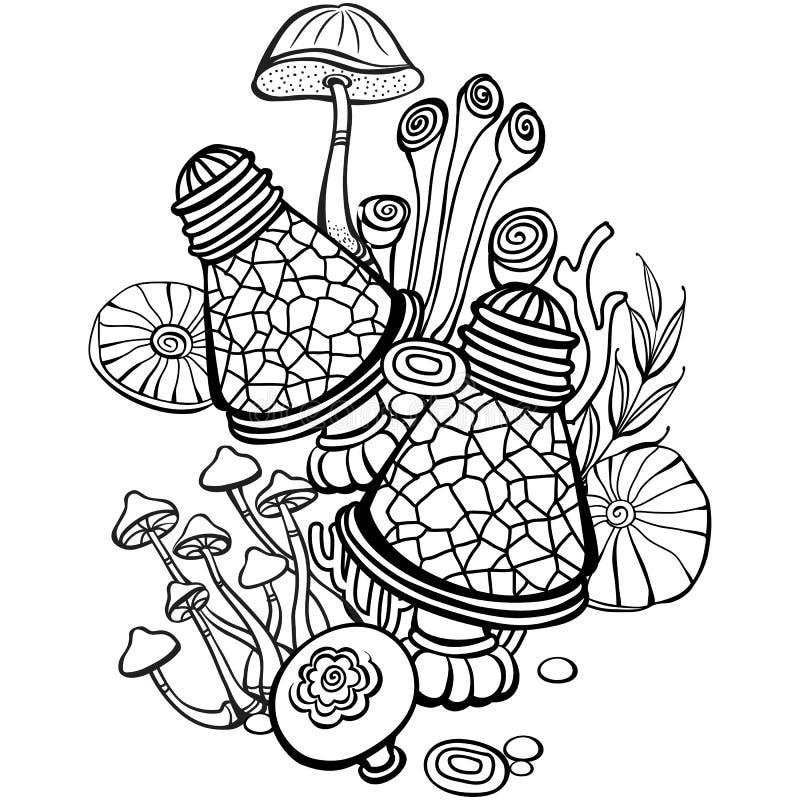 Página do livro para colorir com cogumelos ilustração royalty free