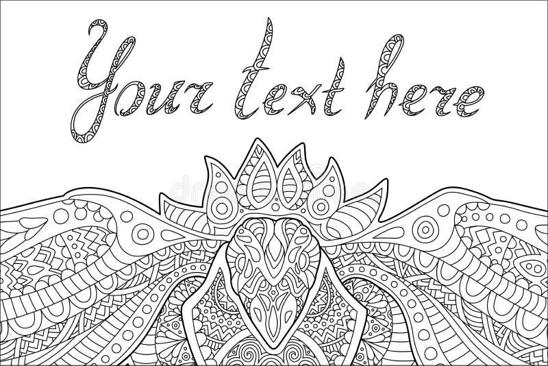 Página do livro para colorir com pássaro estilizado e texto ilustração stock