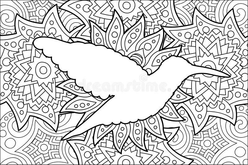 Página do livro para colorir com a silhueta do colibri ilustração royalty free