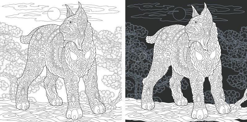 Página do livro para colorir com wildcat ilustração royalty free