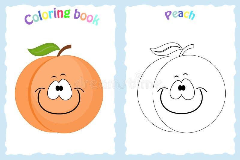 Página do livro para colorir para crianças com pêssego colorido e esboço ilustração royalty free