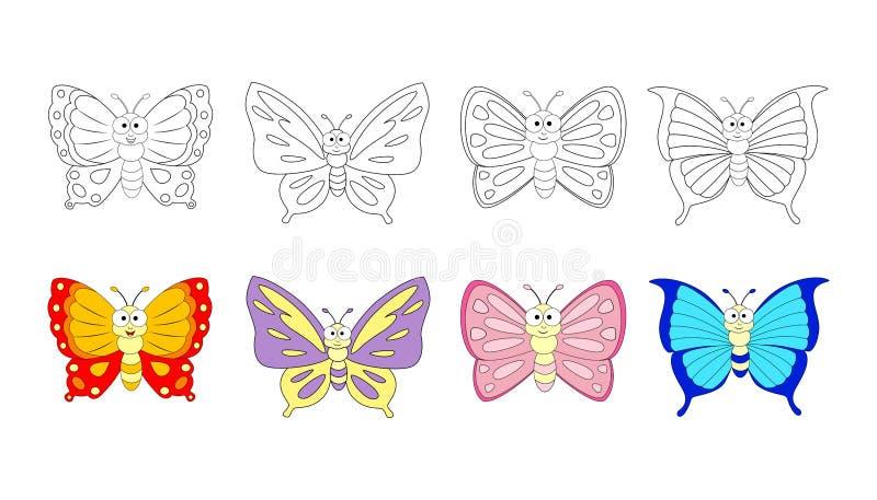 Página do livro para colorir para crianças prées-escolar com butterfl colorido ilustração stock