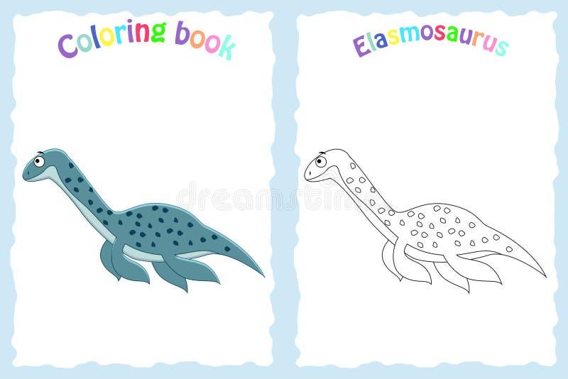 Página do livro para colorir para crianças prées-escolar com elasmosa colorido ilustração do vetor