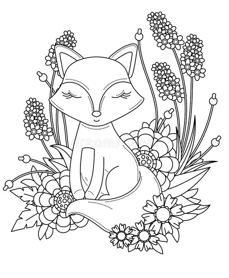 Página do livro para colorir para o adulto e as crianças Raposa pequena bonito dos desenhos animados com flores e as folhas abstr imagem de stock