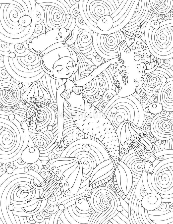 Página do livro para colorir para o adulto e as crianças imagens de stock royalty free
