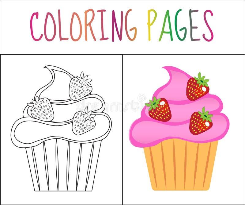 Página do livro para colorir Queques, bolo Versão do esboço e da cor coloração para crianças Ilustração do vetor ilustração stock