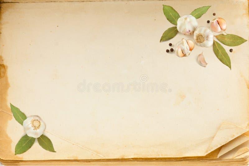 Página do livro velho, e especiarias foto de stock royalty free