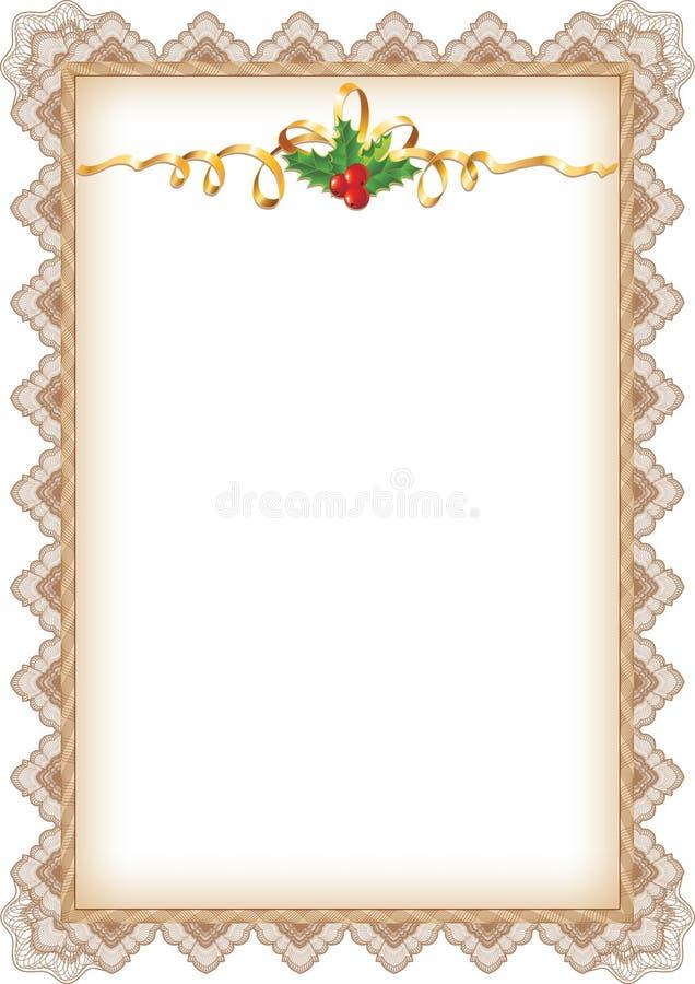 Página do Natal do vintage com azevinho ilustração stock
