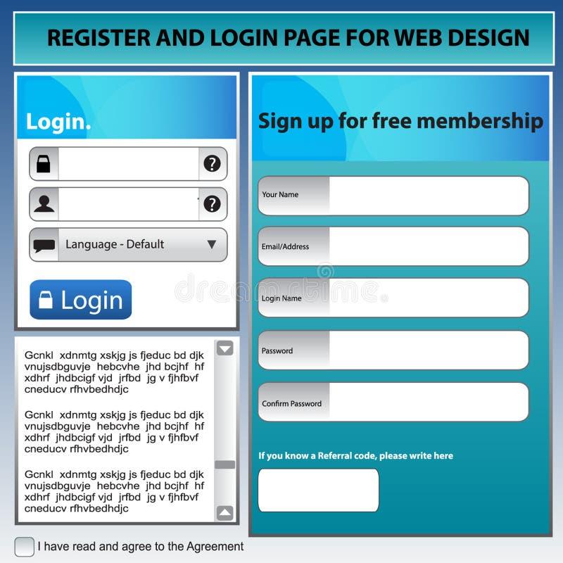 Página do registro para o azul do design web foto de stock royalty free