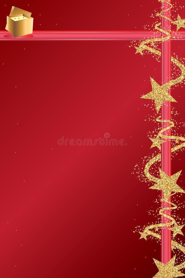 Página dourada do vermelho da fita do brilho da estrela ilustração do vetor