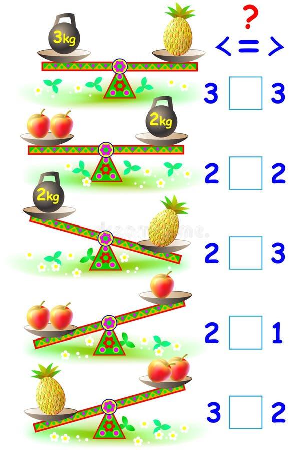 Página educacional com exercícios matemáticos para jovens crianças Precise de escrever o correto assina dentro quadrados vazios ilustração stock