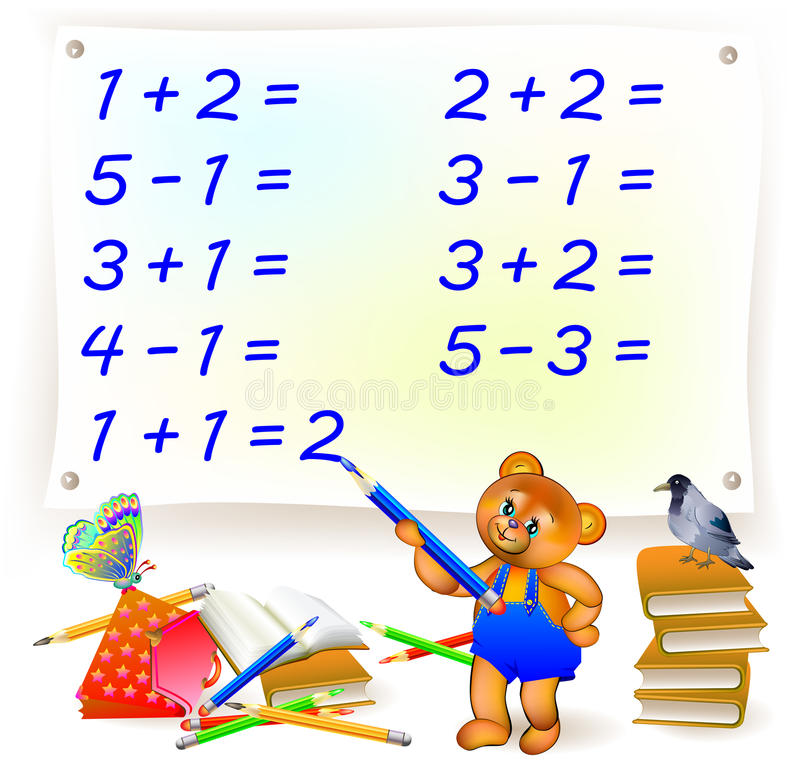 Página educacional com exercícios para crianças na adição e na subtração Ajude o urso a resolver exemplos e escrever os números ilustração do vetor