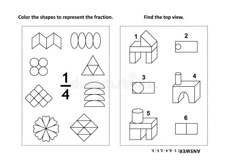 Página educacional da atividade da matemática com dois enigmas e colorações - frações, habilidades espaciais ilustração do vetor