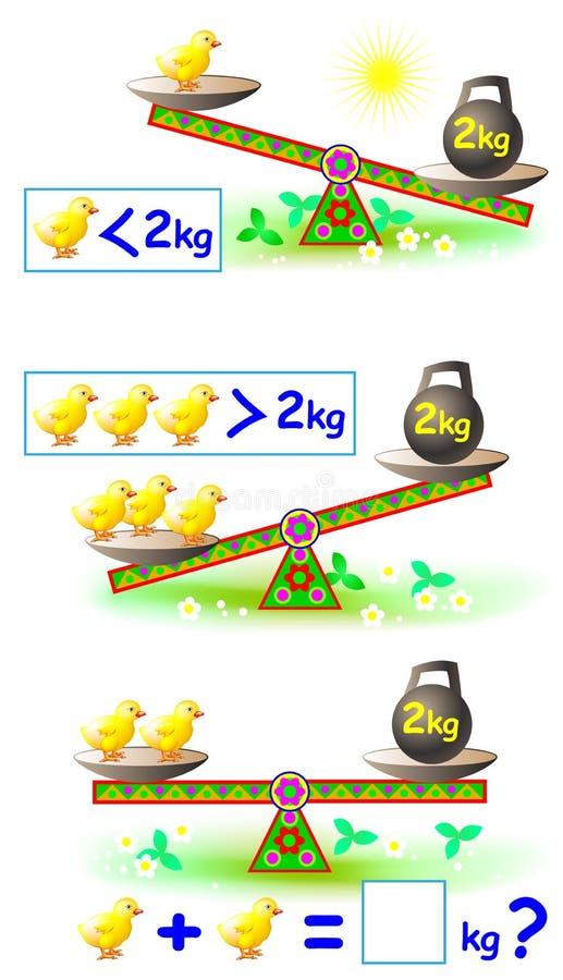 Página educacional matemática para crianças com números ilustração stock