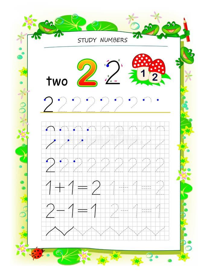 Página educacional no papel quadrado para crianças com número 2 Folha imprim?vel para o livro de texto das crian?as Habilidades t ilustração do vetor
