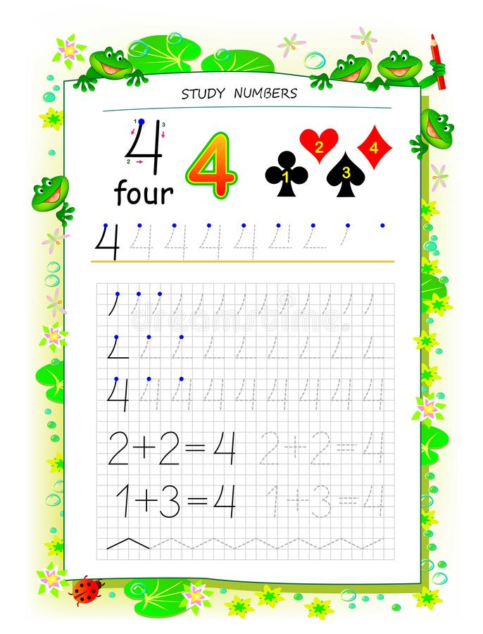 Página educacional no papel quadrado para crianças com número 4 Folha imprim?vel para o livro de texto das crian?as ilustração do vetor