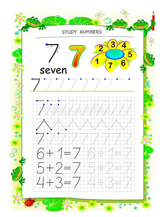 Página educacional no papel quadrado para crianças com número 7 Folha imprim?vel para o livro de texto das crian?as ilustração royalty free