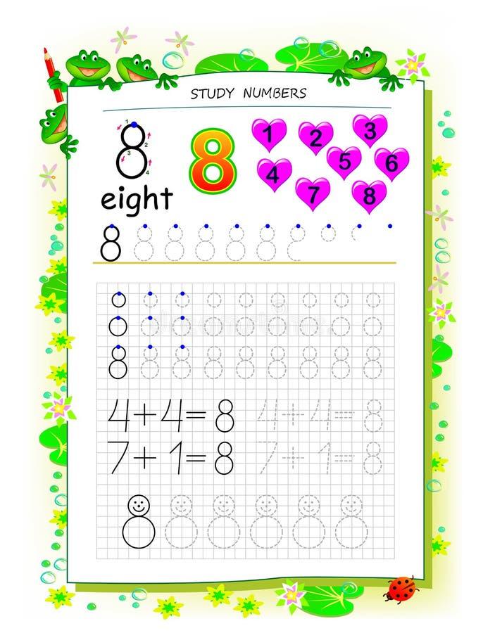 Página educacional no papel quadrado para crianças com número 8 Folha imprim?vel para o livro de texto das crian?as ilustração royalty free
