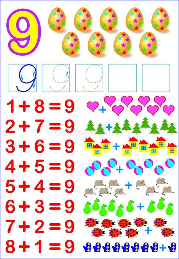 Página educacional para crianças com composições do número 9 Habilidades tornando-se para contar ilustração do vetor