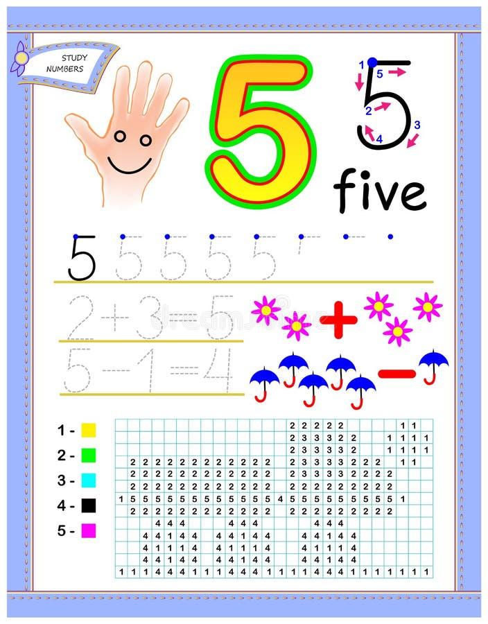 Página educacional para crianças com número 5 Pinte a imagem Folha imprimível para o livro de texto das crianças Contagem tornand ilustração stock