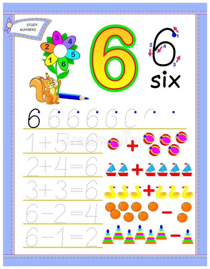 Página educacional para crianças com número 6 Resolva exemplos matemáticos Folha imprimível para o livro de texto das crianças Co ilustração stock