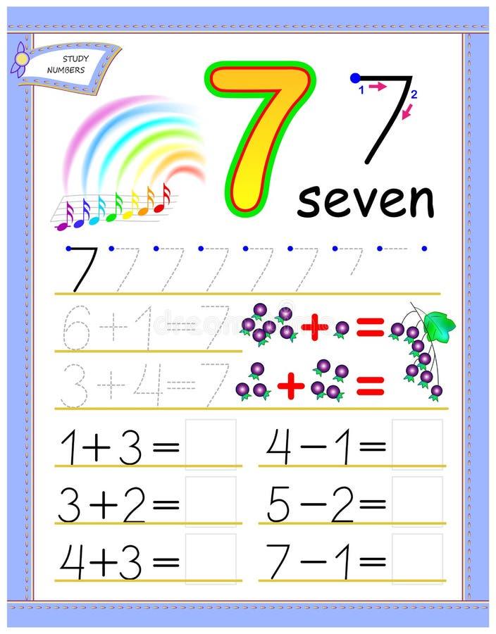 Página educacional para crianças com número 7 Resolva exemplos matemáticos Folha imprimível para o livro de texto das crianças Co ilustração stock