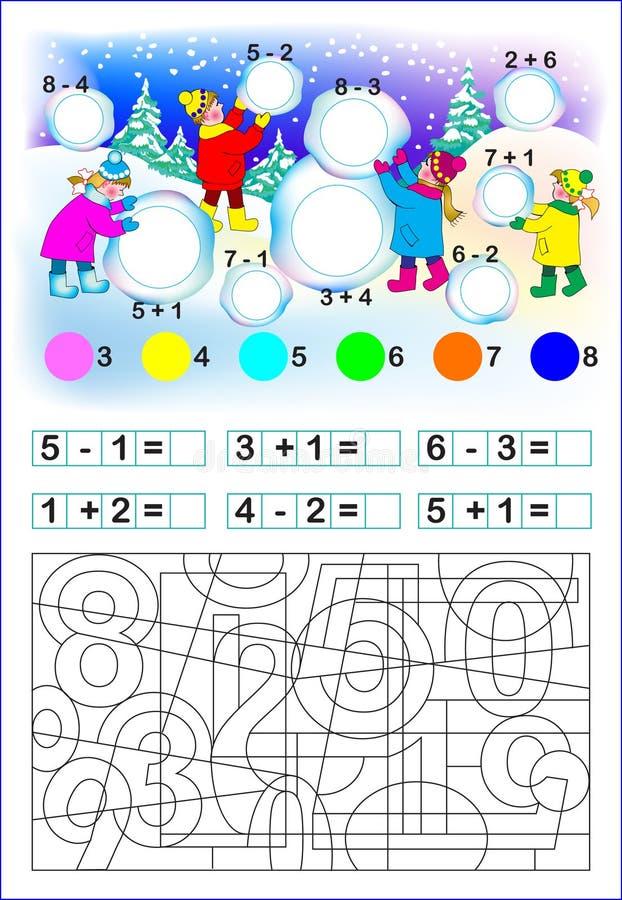 Página educacional para crianças com números ilustração royalty free