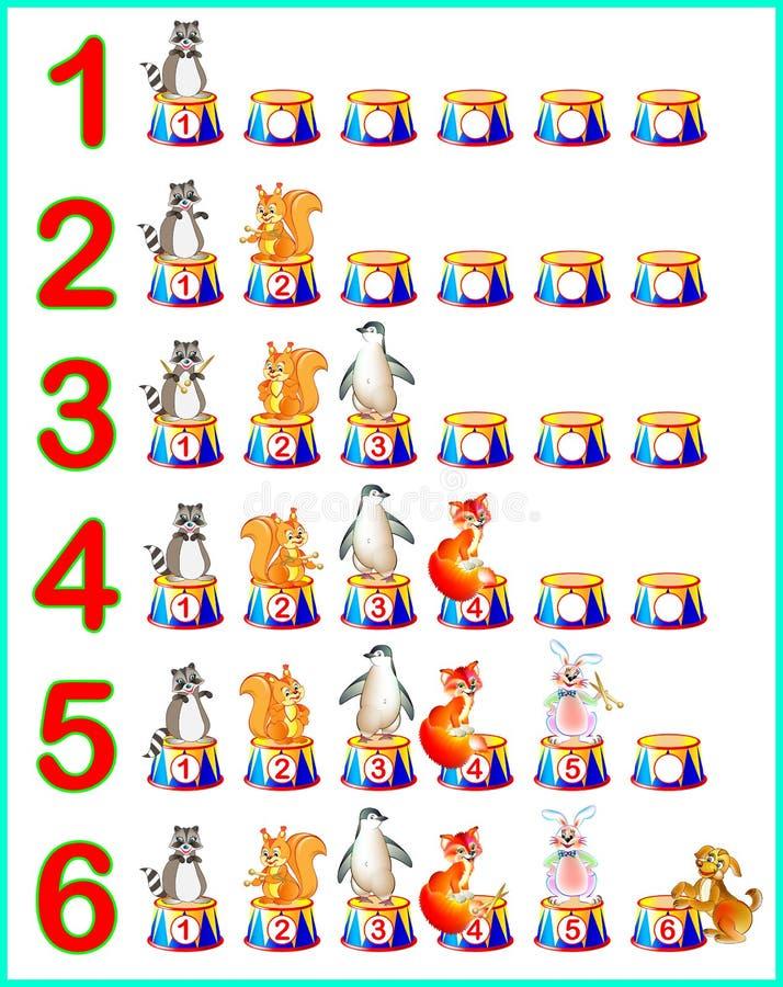 Página educacional para crianças com números Habilidades tornando-se para contar ilustração stock