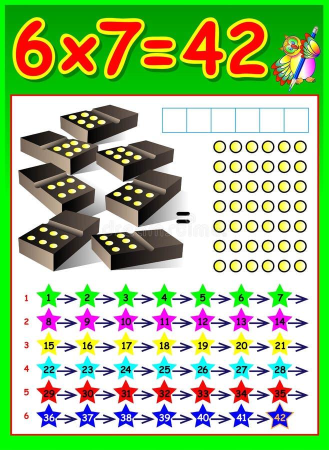 Página educacional para crianças com tabela de multiplicação ilustração royalty free