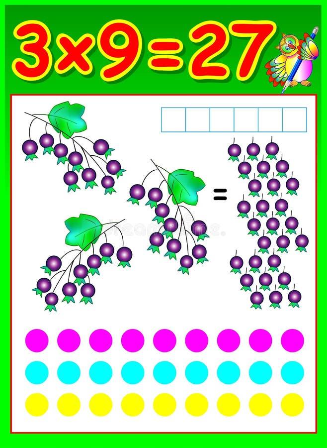Página educacional para crianças com tabela de multiplicação ilustração stock