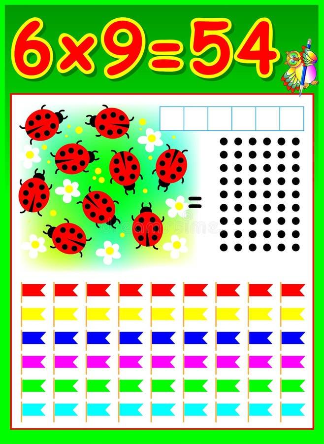 Página educacional para crianças com tabela de multiplicação ilustração do vetor
