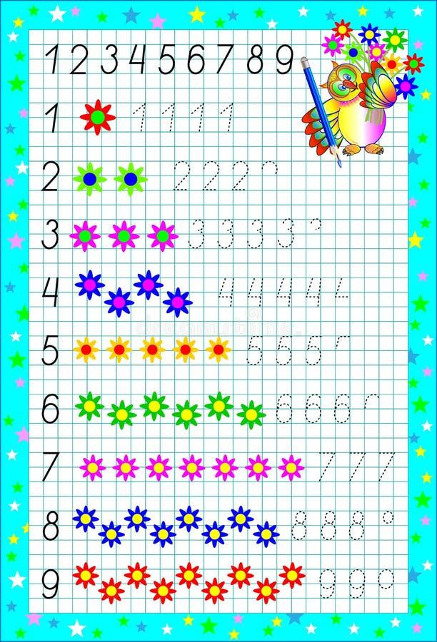 Página educacional para crianças em um papel quadrado com números ilustração do vetor