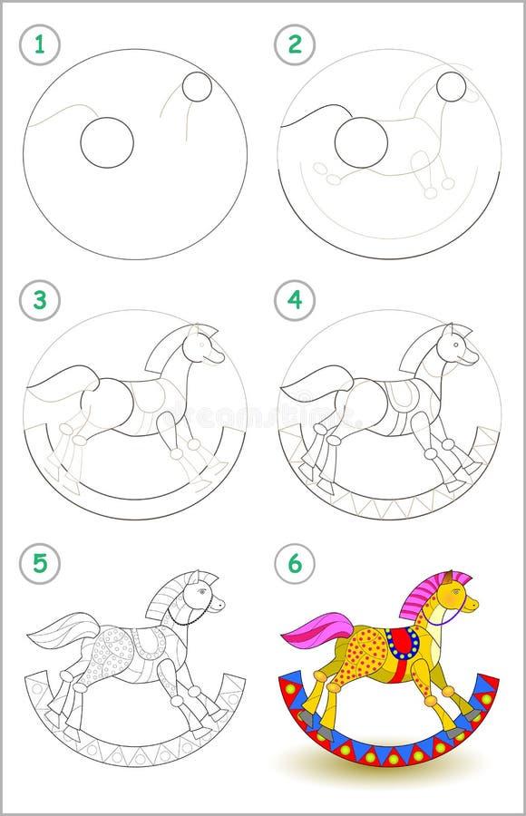 A página educacional para crianças mostra como aprender ponto por ponto tirar um cavalo de balanço do brinquedo De volta à escola ilustração do vetor
