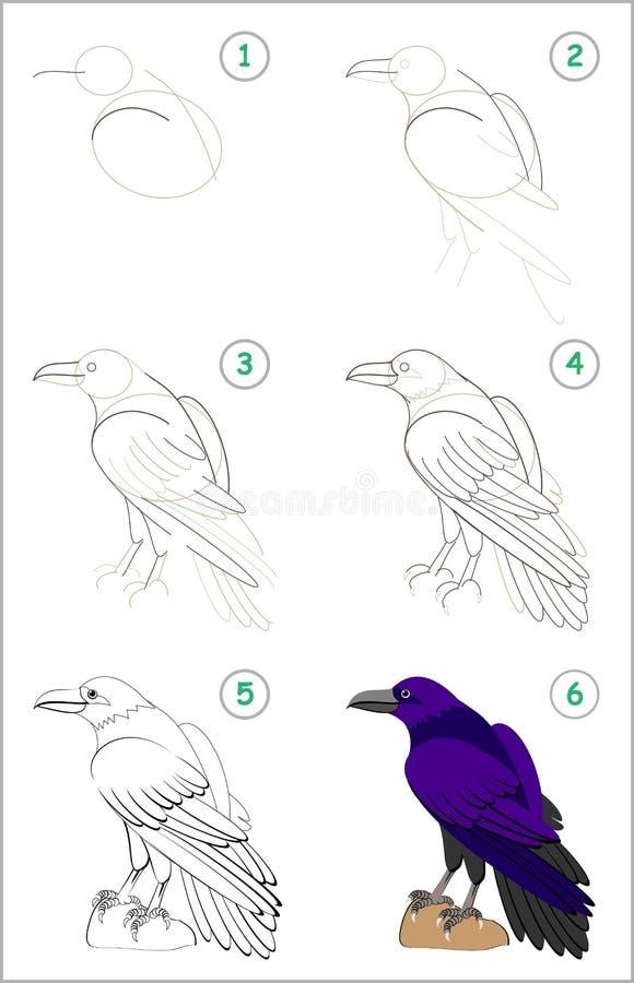 A página educacional para crianças mostra como aprender ponto por ponto tirar um corvo bonito De volta à escola Habilidades torna ilustração stock