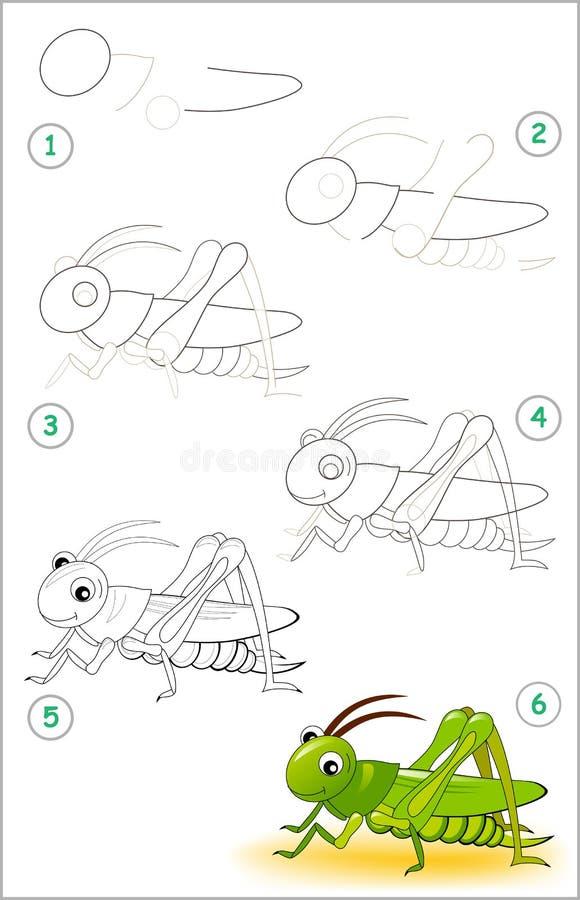 A página educacional para crianças mostra como aprender ponto por ponto tirar um grilo bonito De volta à escola Habilidades torna ilustração do vetor