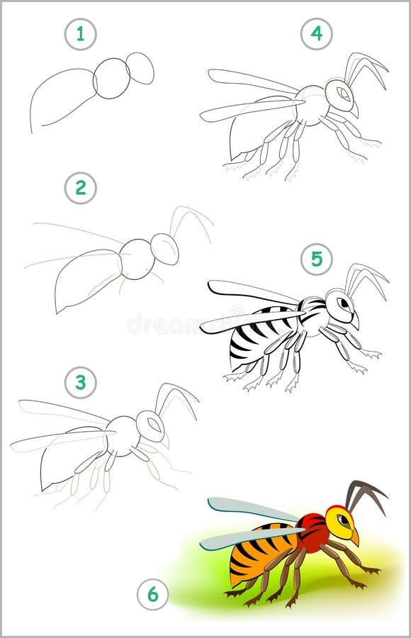 A página educacional para crianças mostra como aprender ponto por ponto tirar um zangão bonito do inseto De volta ? escola Habili ilustração royalty free