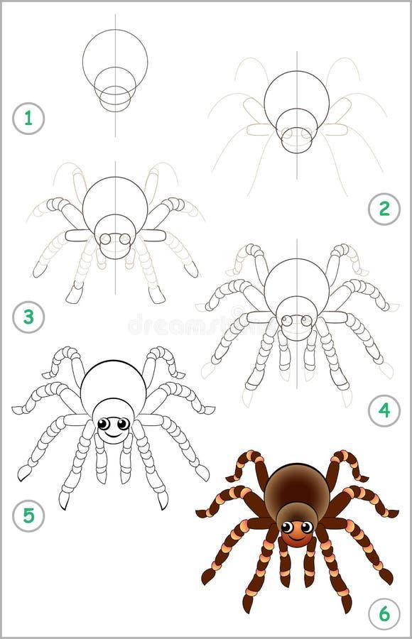 A página educacional para crianças mostra como aprender ponto por ponto tirar uma aranha bonito De volta à escola Habilidades tor ilustração stock