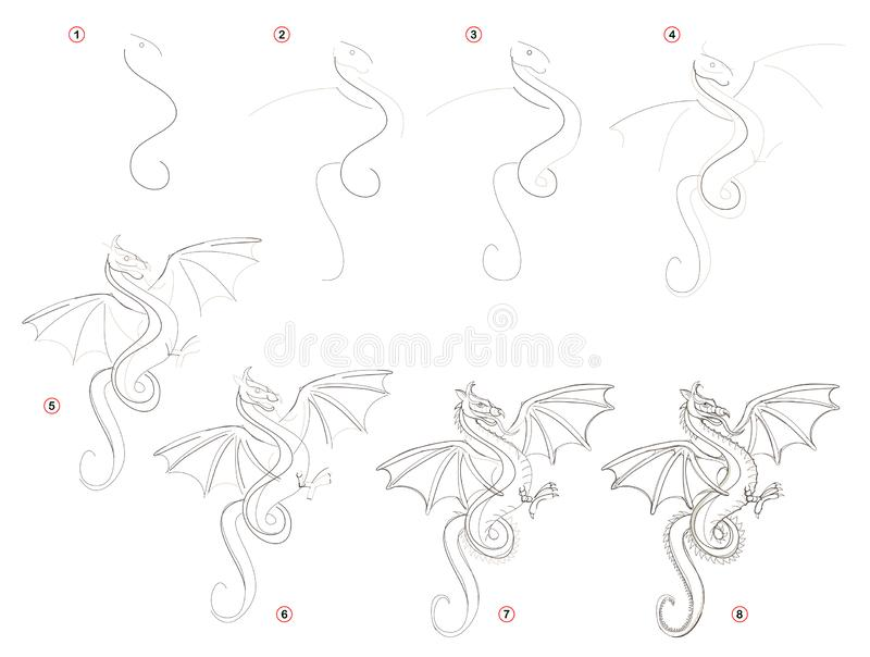 A página educacional para crianças mostra como criar ponto por ponto um desenho de lápis do dragão oriental fantástico ilustração do vetor