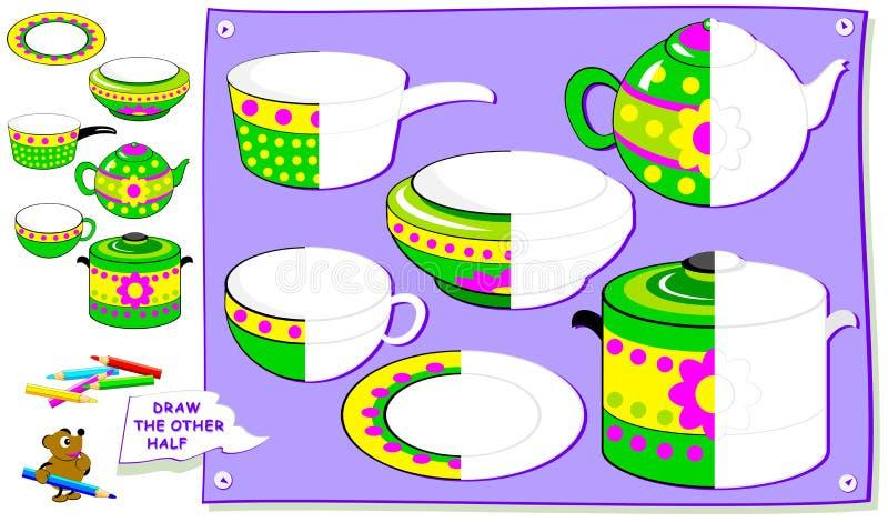 Página educacional para crianças Precise de pintar as segundas partes dos pratos Habilidades tornando-se das crianças para tirar  ilustração do vetor