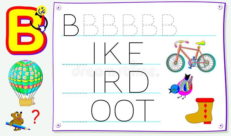Página educacional para jovens crianças com letra B para o inglês do estudo Habilidades tornando-se para escrever e ler ilustração royalty free