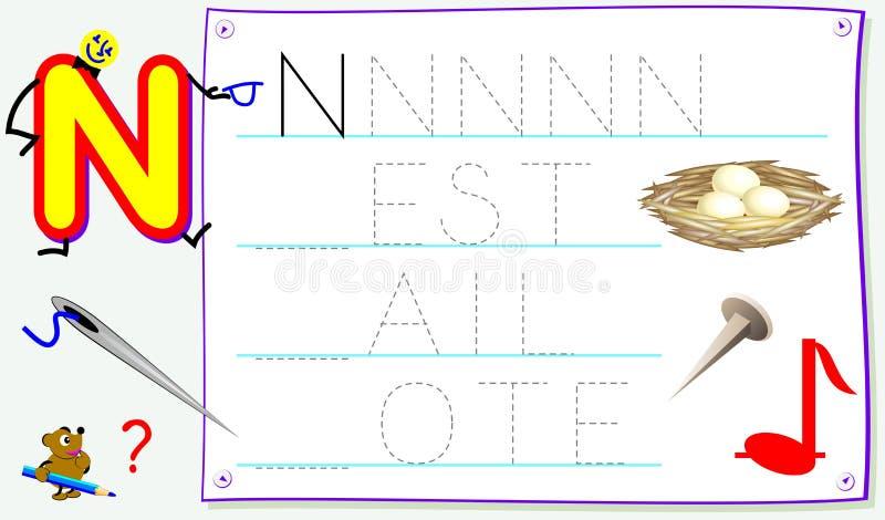 Página educacional para jovens crianças com letra N para o inglês do estudo Habilidades tornando-se para escrever e ler ilustração stock