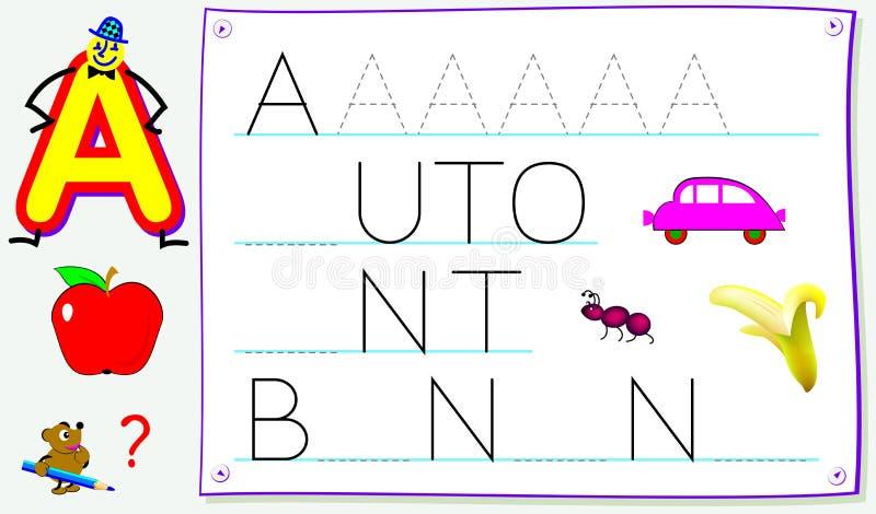 Página educacional para jovens crianças com letra A para o inglês do estudo Habilidades tornando-se para escrever e ler ilustração royalty free