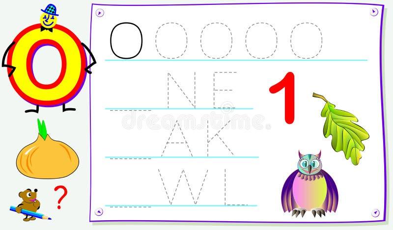 Página educacional para jovens crianças com letra O para o inglês do estudo Habilidades tornando-se para escrever e ler ilustração royalty free