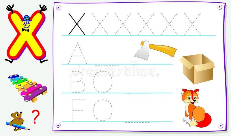 Página educacional para jovens crianças com letra X para o inglês do estudo Habilidades tornando-se para escrever e ler ilustração do vetor