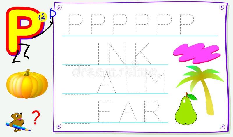 Página educacional para jovens crianças com letra P para o inglês do estudo Habilidades tornando-se para escrever e ler ilustração royalty free