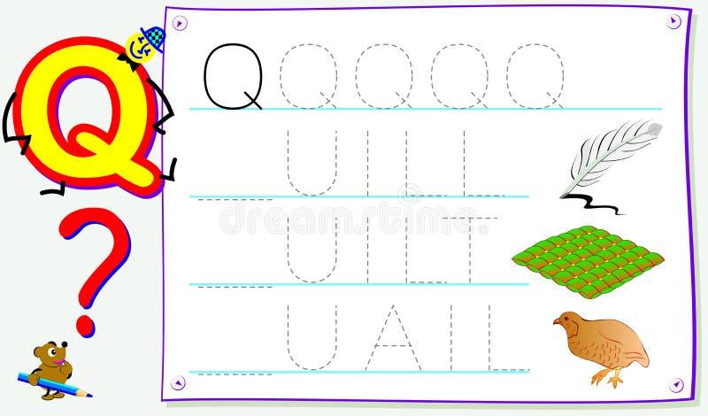 Página educacional para jovens crianças com letra Q para o inglês do estudo Habilidades tornando-se para escrever e ler ilustração do vetor