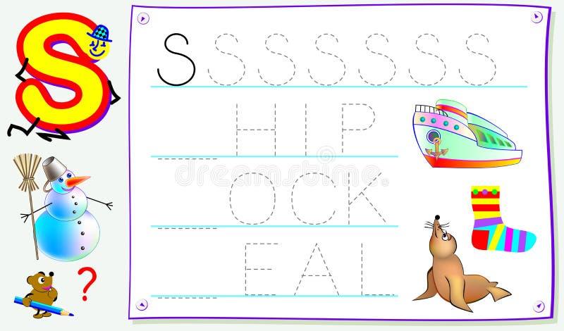 Página educacional para jovens crianças com letra S para o inglês do estudo Habilidades tornando-se para escrever e ler ilustração do vetor