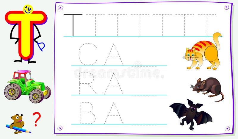 Página educacional para jovens crianças com letra T para o inglês do estudo Habilidades tornando-se para escrever e ler ilustração royalty free