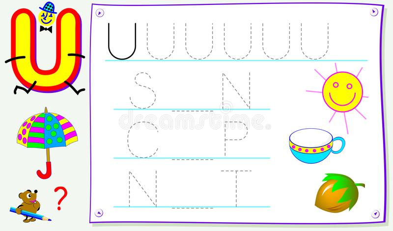 Página educacional para jovens crianças com letra U para o inglês do estudo Habilidades tornando-se para escrever e ler ilustração do vetor