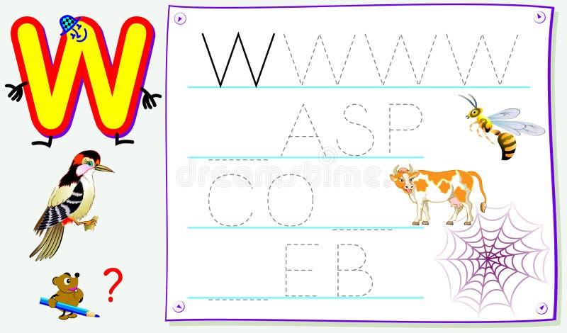 Página educacional para jovens crianças com letra W para o inglês do estudo Habilidades tornando-se para escrever e ler ilustração stock